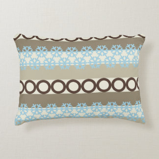 Brown and Blue Circles and Snowflakes Stripes Decorative Cushion