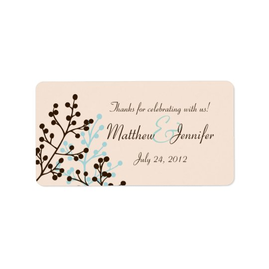 Brown and Blue Custom Wedding Favour Label