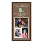 Brown and Blue Floral Bird Christmas 3 Photo Cards