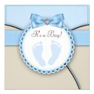 Brown and Blue Footprint Baby Shower 13 Cm X 13 Cm Square Invitation Card