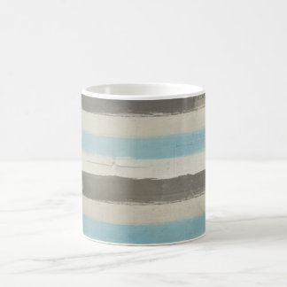 Brown and Blue Horizontal Stripes in Watercolor Basic White Mug