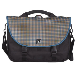Brown and Blue Plaid Laptop Bags
