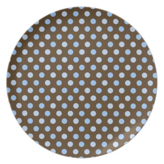 Brown and Blue Polka Dot Plate