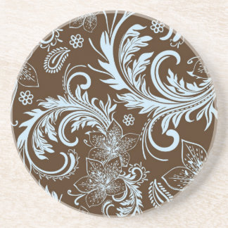 Brown And Blue Retro Flowers & Swirls Design Coaster