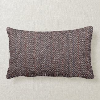 Brown and Blue Tweed Image Throw Pillow Lumbar