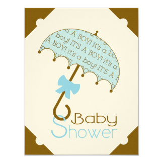 Brown and Blue Umbrella Baby Shower Invitation