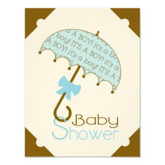"Brown and Blue Umbrella Baby Shower Invitation 4.25"" X 5.5"" Invitation Card"