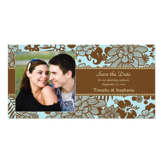 Brown and blue wedding save the date photocard personalized photo card