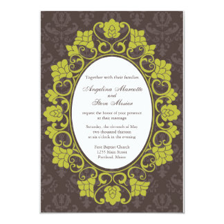 Brown and Chartreuse Floral Damask wedding invite