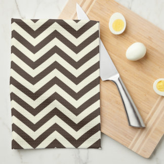 Brown and Cream Chevron Hand Towels