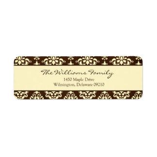 Brown and Cream Damask Personalized Return Address Return Address Label
