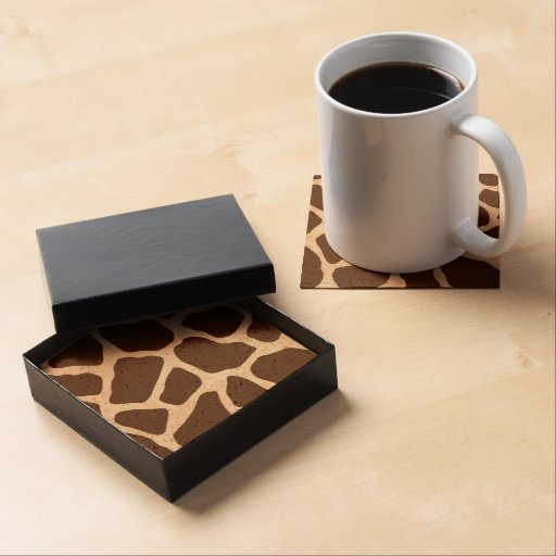 Brown and Cream Giraffe Print Drink Coaster