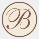 Brown and Cream Monogrammed Envelope Seals Round Sticker