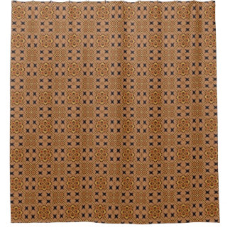 Brown And Cream Mosaic Pattern Shower Curtain