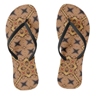 Brown And Cream Mosaic Pattern Thongs