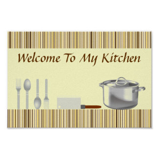 Brown and Cream Striped Kitchen Poster