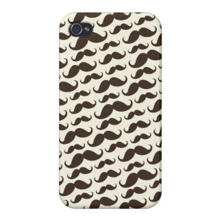 Brown and cream trendy funny mustache pattern iPhone 4/4S covers