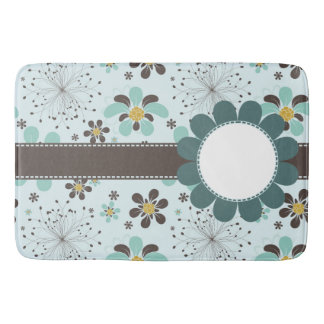 Brown and Gold Floral Bath Mat
