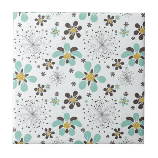 BROWN AND GOLD FLOWERS CERAMIC TILE