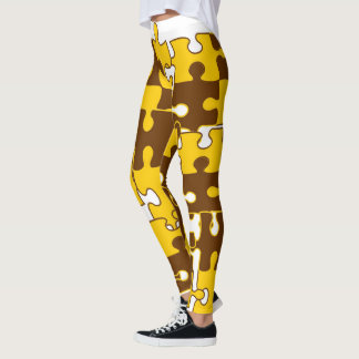 Brown and Gold Jigsaw puzzle design leggings