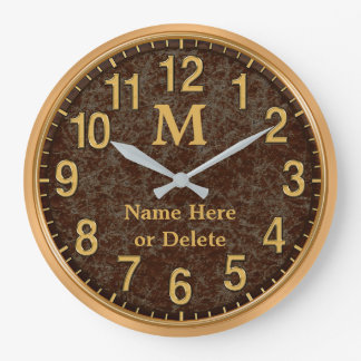 Brown and Gold Monogrammed Personalised Clock