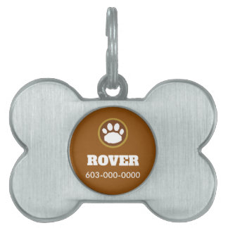 Brown and Gold Paw Print Pet ID Tag