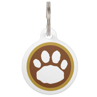 Brown and Gold Paw Print Pet Name Tag