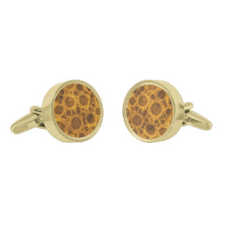 Brown and Gold Steampunk Abstract Cufflinks Gold Finish Cufflinks