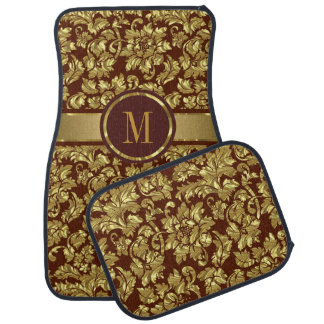 Brown And Gold Vintage Floral Damasks Monogram Car Mat