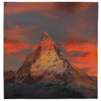 Brown and Gray White Mountain Under Cloudy Sky Napkin