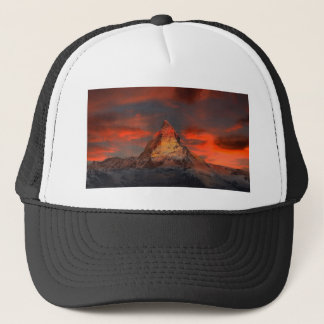Brown and Gray White Mountain Under Cloudy Sky Trucker Hat