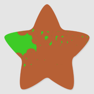 brown and green abstract art star sticker