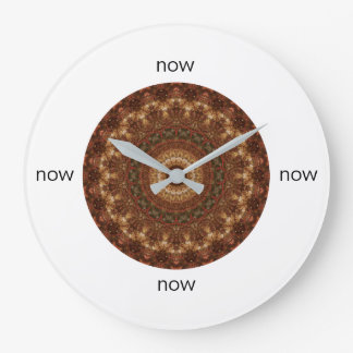 "Brown and Green Christmas Mandala ""Now"" Large Clock"