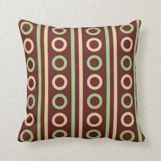 Brown and Green Circles and Stripes MOJO Pillow
