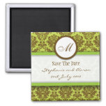 Brown and Green Damask Monogram Save The Date
