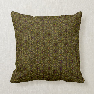Brown and Green Floral Throw Pillow