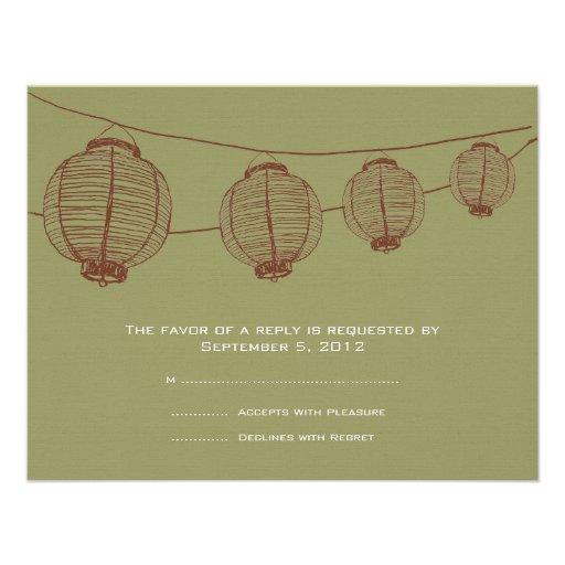 Brown and Green Lanterns Wedding RSVP Custom Invitation
