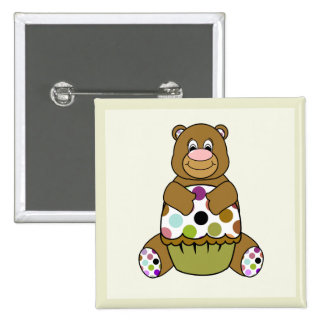 Brown And Green Polkadot Bear Pinback Button