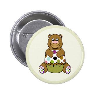 Brown And Green Polkadot Bear Button
