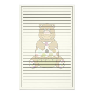 Brown And Green Polkadot Bear Customized Stationery