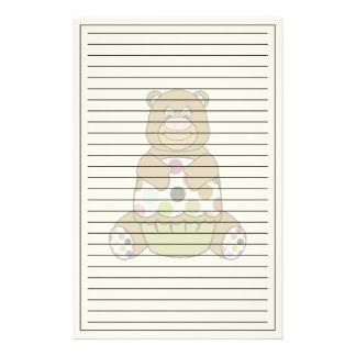 Brown And Green Polkadot Bear Custom Stationery