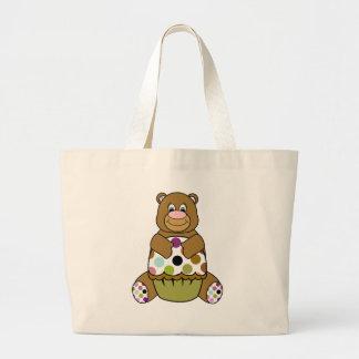 Brown And Green Polkadot Bear Tote Bag