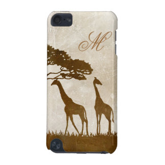 Brown and Ivory African Giraffe Monogram iPod Touch 5G Cases