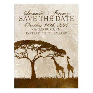 Brown and Ivory African Giraffe Save The Date Post Card