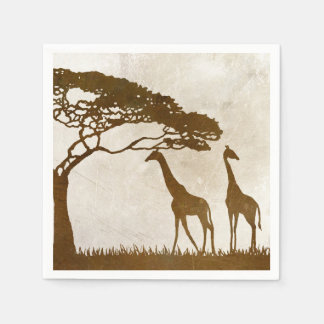 Brown and Ivory African Giraffe Wedding Disposable Serviette