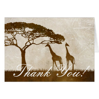 Brown and Ivory African Giraffe Wedding Thank You Note Card