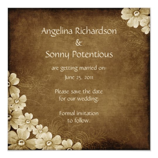 Brown and Ivory Floral Save The Date Card