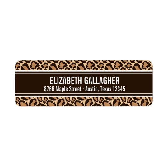 Brown and Leopard Print Return Address Label