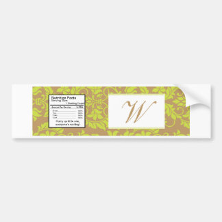 Brown and Lime Green Damask Water Bottle Label Bumper Sticker
