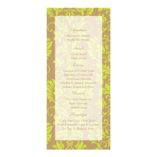 Brown and Lime Green Damask Wedding Menu Tags Rack Card Template